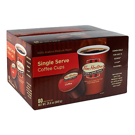 Tim Hortons Original Roast Single-Serve Coffee Cups, 0.35 Oz, Box Of 80 Cups