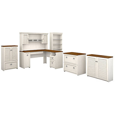 "Bush Furniture Fairview 60""W L Shaped Desk With Hutch, Bookcase, Storage And File Cabinets, Antique White/Tea Maple, Standard Delivery"