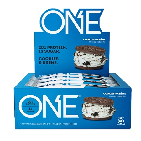 ONE Cookies And Creme Protein Bars, 2.12 Oz, Pack of 12 Bars