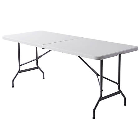 "Realspace® Molded Plastic Top Folding Table, 6' Wide Fold in Half, 29""H x 72""W x 30""D, Platinum"
