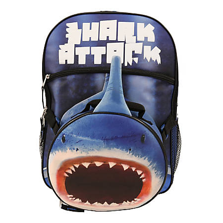 Shark Backpack With Lunch Kit, Blue
