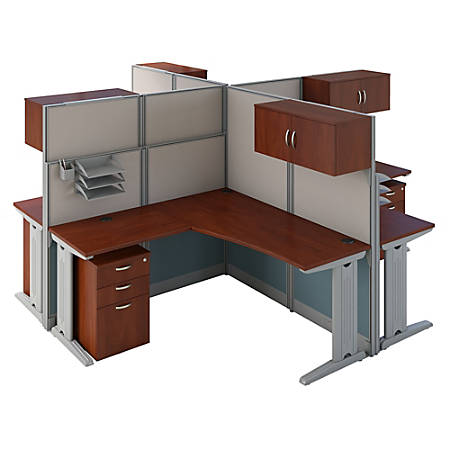 Bush Business Furniture Office in an Hour 4 Person L Shaped Cubicle Workstations, Hansen Cherry, Standard Delivery