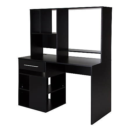 South Shore Annexe Computer Desk With Hutch, Pure Black
