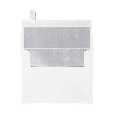 """LUX Invitation Envelopes With Peel & Press Closure, A2, 4 3/8"""" x 5 3/4"""", Silver/White, Pack Of 500"""