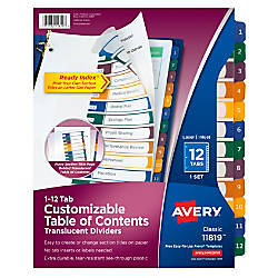 Avery Ready Index Plastic Table Of