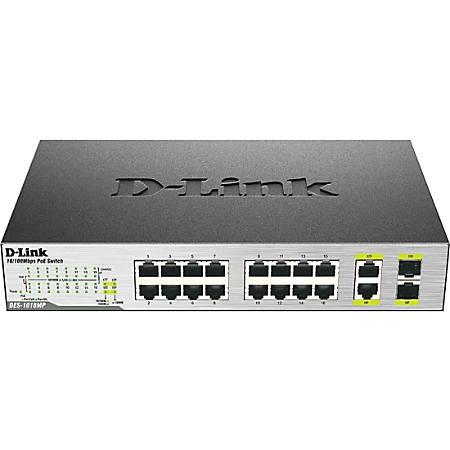D-Link DES-1018MP 18-Port 10/100 Unmanaged PoE Switch Including 2 1000BASE-T/SFP Combo Ports