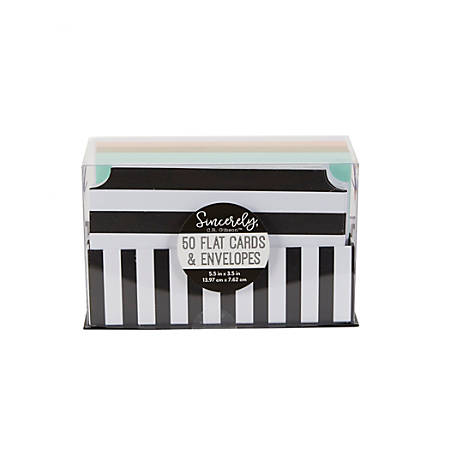 "Sincerely A Collection by C.R. Gibson® Flat Notes, 3 1/2"" x 5 1/2"", Black/White Stripe, Pack Of 50"