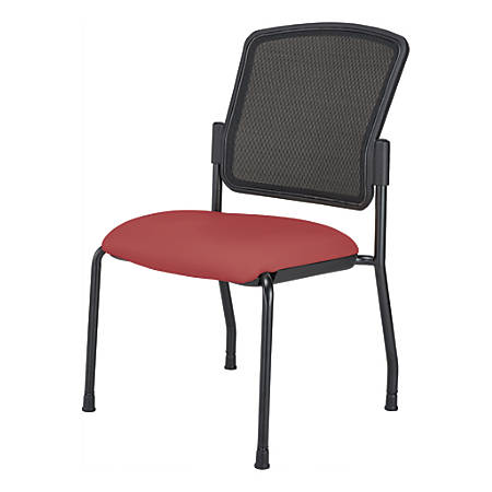 WorkPro® Spectrum Series Antimicrobial Vinyl Stacking Guest Chair, Armless, Red/Black