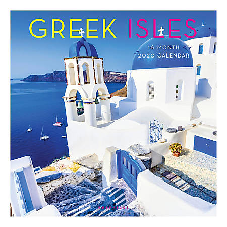 "Graphique de France Monthly Wall Calendar, 12"" x 12"", FSC® Certified, Greek Isles, January to December 2020"
