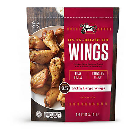 Willow Brook Large Oven-Roasted Chicken Wings, 64 Oz, Bag Of 25 Wings