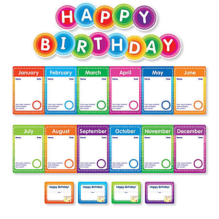Color Your Classroom Birthdays Mini Bulletin Board Set, Assorted Colors