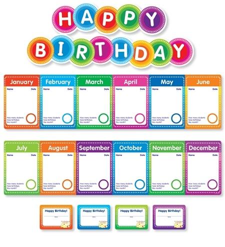 Color Your Classroom Birthdays Mini Bulletin Board Set Assorted Colors Item 586499