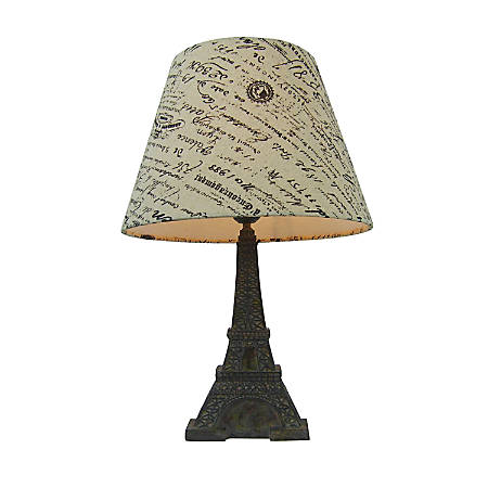 """Simple Designs Eiffel Tower Paris Table Lamp, 16""""H, Wheat French Writing Shade/Slate Base"""