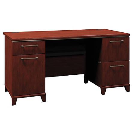 "Bush Business Furniture Enterprise Office Desk With 2 Pedestals, 60""W, Harvest Cherry, Standard Delivery"