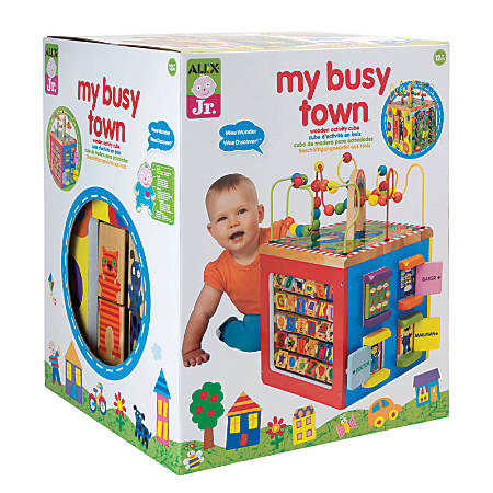ALEX Jr. My Busy Town Wooden Activity Cube, Ages 1-4