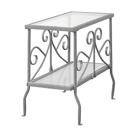 Monarch Specialties Side Table, Glass, Rectangle, Silver