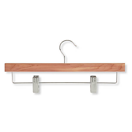 "Honey-Can-Do Cedar Skirt/Pant Hangers With Clips, 6 3/8""H x 1/2""W x 13 3/4""D, Natural, Pack Of 4"