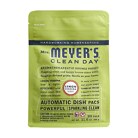 Mrs. Meyer's Clean Day Automatic Dish Detergent, Lemon Scent, 12.7 Oz, 20 Packets Per Pack, Carton Of 6 Packs