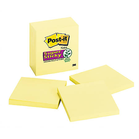 """Post-it® Super Sticky Notes, 3"""" x 3"""", Canary Yellow, Pack Of 6 Pads"""