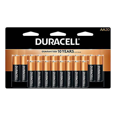 Duracell® Coppertop Alkaline AA Batteries, Pack Of 20 Batteries