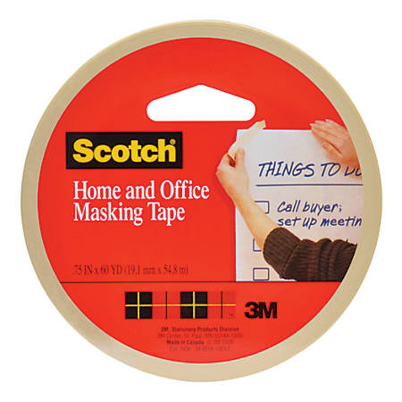 "Scotch® Stationery Masking Tape, 3/4"" x 60 Yd., Pack Of 3"