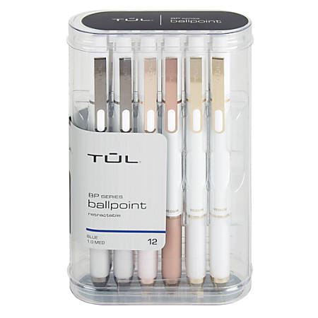TUL® BP3 Retractable Ballpoint Pens, Medium Point, 1.0 mm, Pearl White Barrel, Blue Ink, Pack Of 12 Pens