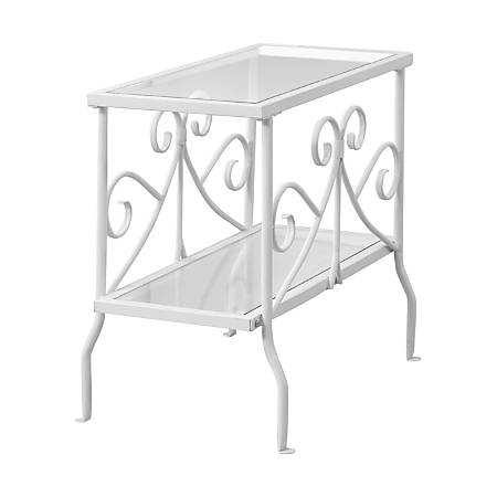 Monarch Specialties Side Table, Glass, Rectangle, White