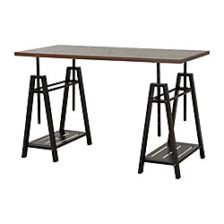 Homestar North America Adjustable Home Office Desk, Rectangular, FSC® Certified, Mocha/Brown