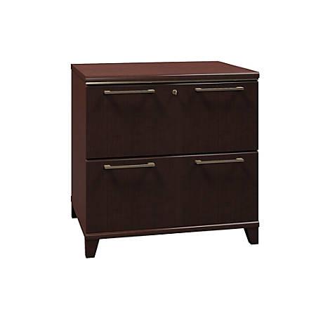 "Bush Business Furniture Enterprise 30""W Lateral 2-Drawer File Cabinet, Mocha Cherry, Premium Installation"