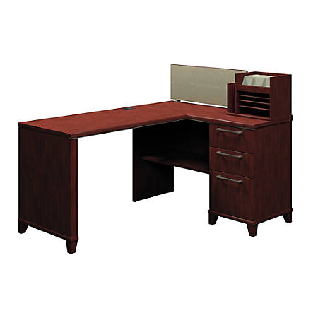 "Bush Business Furniture Enterprise Corner Desk, 60""W x 47""D, Harvest Cherry, Premium Installation"
