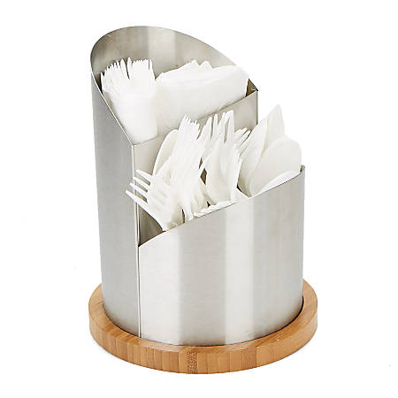 """Mind Reader 2-Compartment Metal Cutlery Holder, 8""""H x 6 3/8""""W x 6 3/8""""D, Silver"""