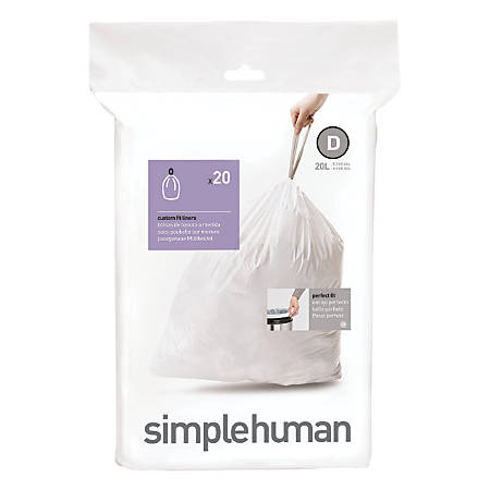 simplehuman Custom-Fit 0.03-mil Can Liners, 5.3 Gallons, White, Pack Of 240