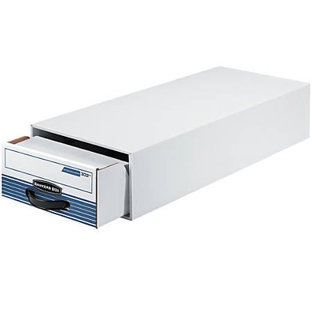 """Bankers Box® Steel Plus 65% Recycled Storage Drawer, 6 1/2"""" x 10 1/2"""" x 25 1/4"""", White/Blue"""