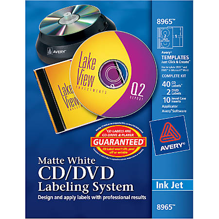 Avery® Inkjet CD/DVD Design Kit, 8965, Labels And Inserts, Pack Of 40
