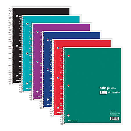 "Office Depot® Brand Wirebound Notebook, 3 Hole-Punched, 8 1/2"" x 11"", 1 Subject, College Ruled, 100 Sheets, Assorted Colors (No Color Choice)"