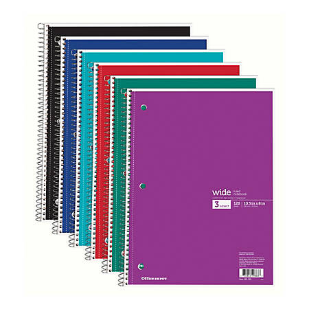 """Office Depot® Brand Wirebound Notebook, 3-Hole Punched, 8"""" x 10 1/2"""", 3 Subjects, Wide Ruled, 120 Sheets, Assorted Colors (No Color Choice)"""