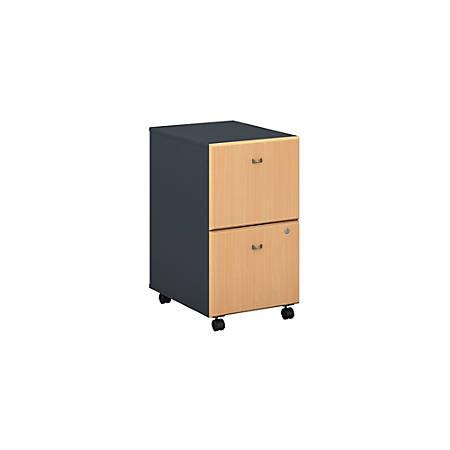 Bush Business Furniture Office Advantage 2 Drawer Mobile File Cabinet, Beech/Slate, Premium Installation