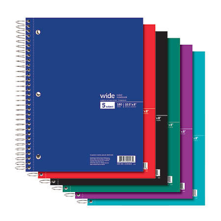 "Office Depot® Brand Wirebound Notebook, 3-Hole Punched, 8"" x 10 1/2"", 5 Subjects, Wide Ruled, 180 Sheets, Assorted Colors (No Color Choice)"