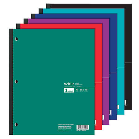 """Office Depot® Brand Wireless Notebook, 8 1/2"""" x 10 1/2"""", 3-Hole Punched, 1 Subject, Wide Ruled, 80 Sheets, Assorted Colors"""