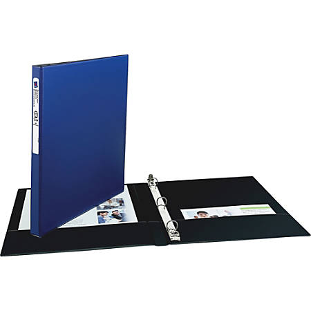 """Avery Economy Binders with Round Rings - 1/2"""" Binder Capacity - Letter - 8 1/2"""" x 11"""" Sheet Size - 100 Sheet Capacity - 3 x Round Ring Fastener(s) - 2 Internal Pocket(s) - Vinyl - Blue - Recycled - 1 Each"""