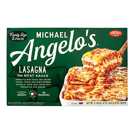 Michael Angelo's Family-Size Lasagna With Meat Sauce, 38 Oz, Pack Of 2 Trays