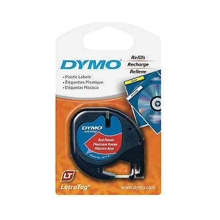 "DYMO® LetraTag Plastic Label, 1/2"" x 13', Black On Red"