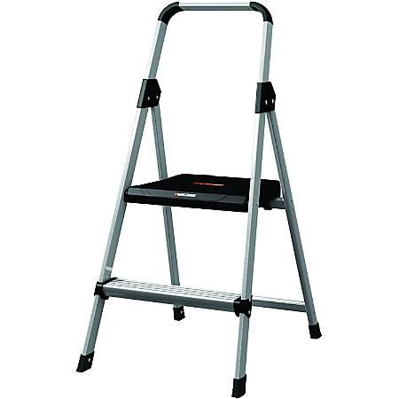 "Louisville 2' Steel Type II Step Stool - 2 Step - 225 lb Load Capacity - 18.5"" x 24"" x 38.5"" - Aluminum"