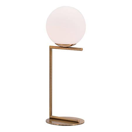 "Zuo Modern Belair Table Lamp, 25 5/8""H, White Shade/Brass Base"