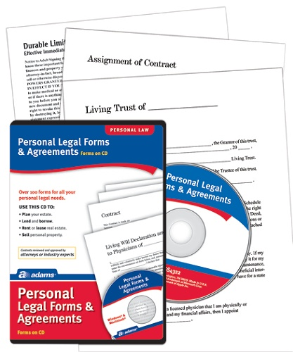 Adams® Personal Legal Forms And Agreements Item # 588960