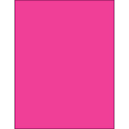 "Office Depot® Brand Labels, LL185PK, Rectangle, 8 1/2"" x 11"", Fluorescent Pink, Case Of 100"