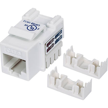 Intellinet Network Solutions Cat6 Keystone Jack, UTP, Punch-Down, White - Compatible With 110 and Krone Punch-Down Tools