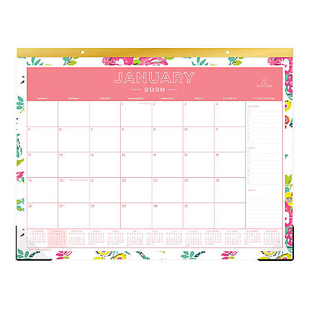 "Day Designer Monthly Desk Pad, 22"" x 17"", Peyton White, January To December 2020, 103631"