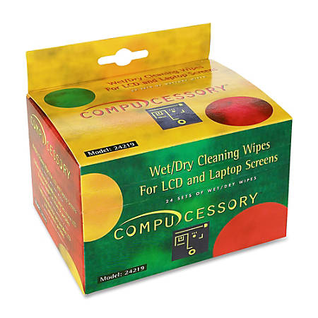 Compucessory LCD/Notebook Computer Screen Cleaning Wipes, Box Of 24