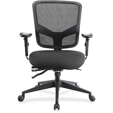 Lorell® Executive Multifunction Mesh/Fabric Mid-Back Chair, Black